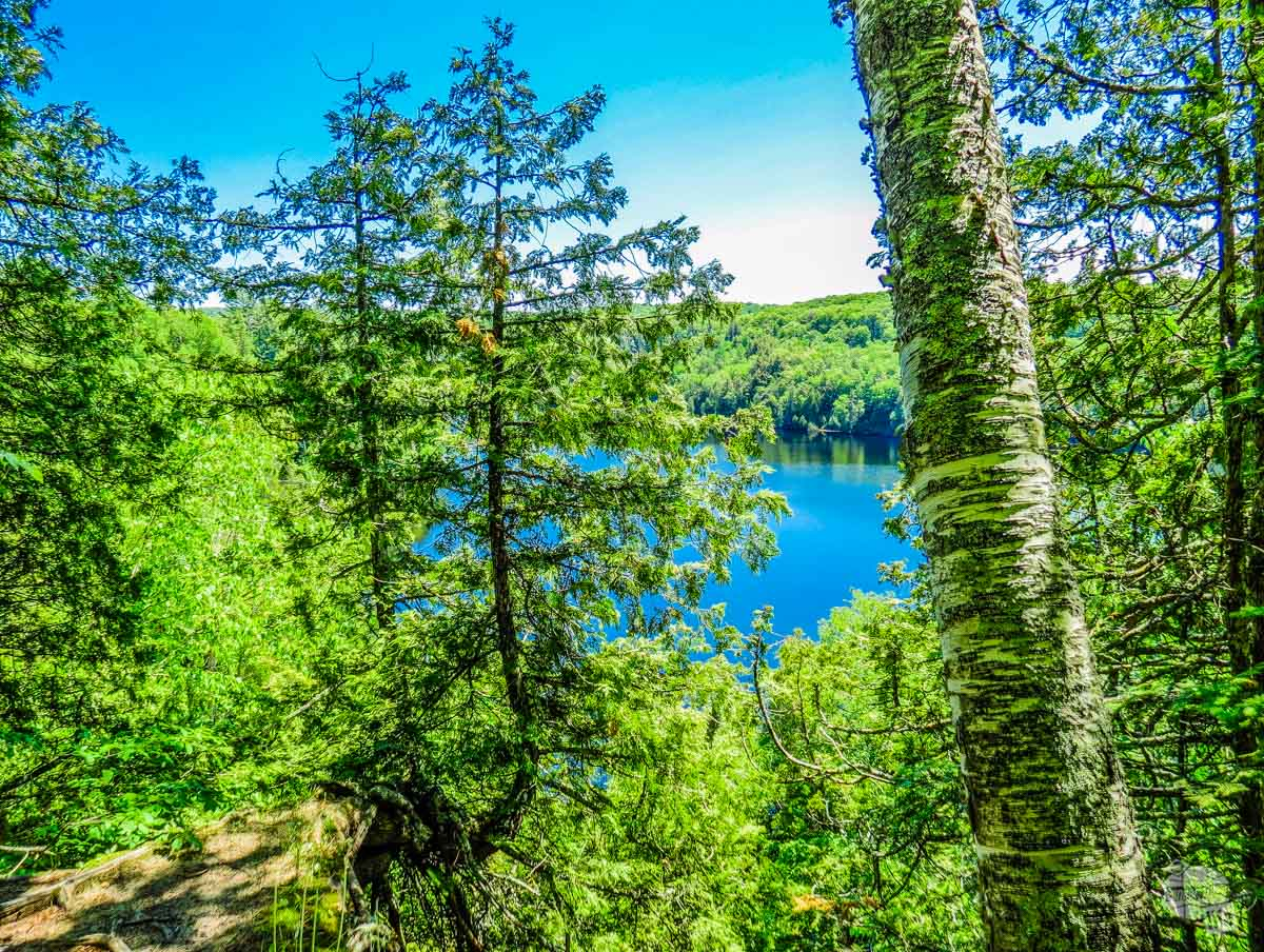 The blue waters and green trees at Chapel Lake.