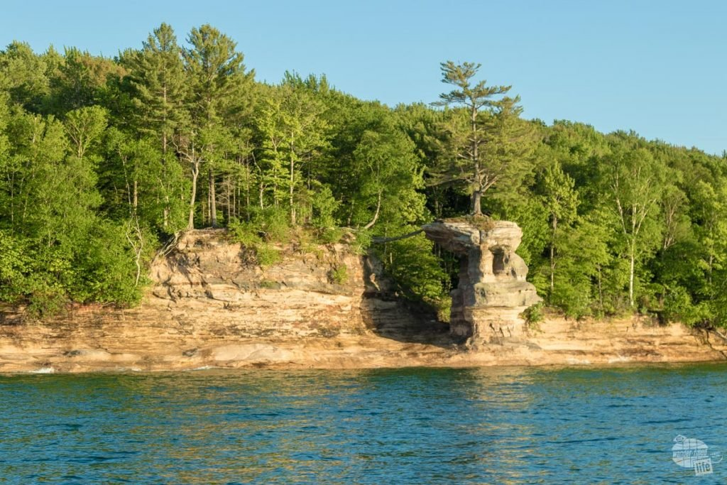Chapel Rock sits atop a rock with one root spreading to land keeping it alive.