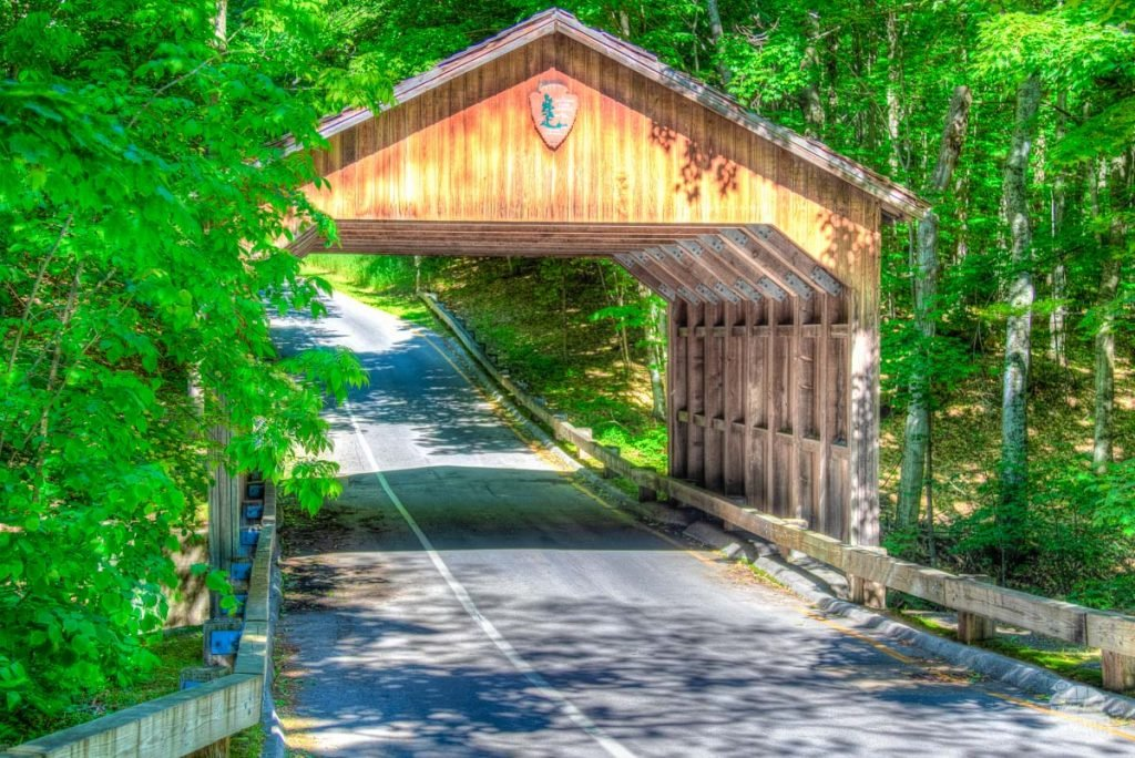 A covered bridge along the Pierce Stocking Scenic Drive.