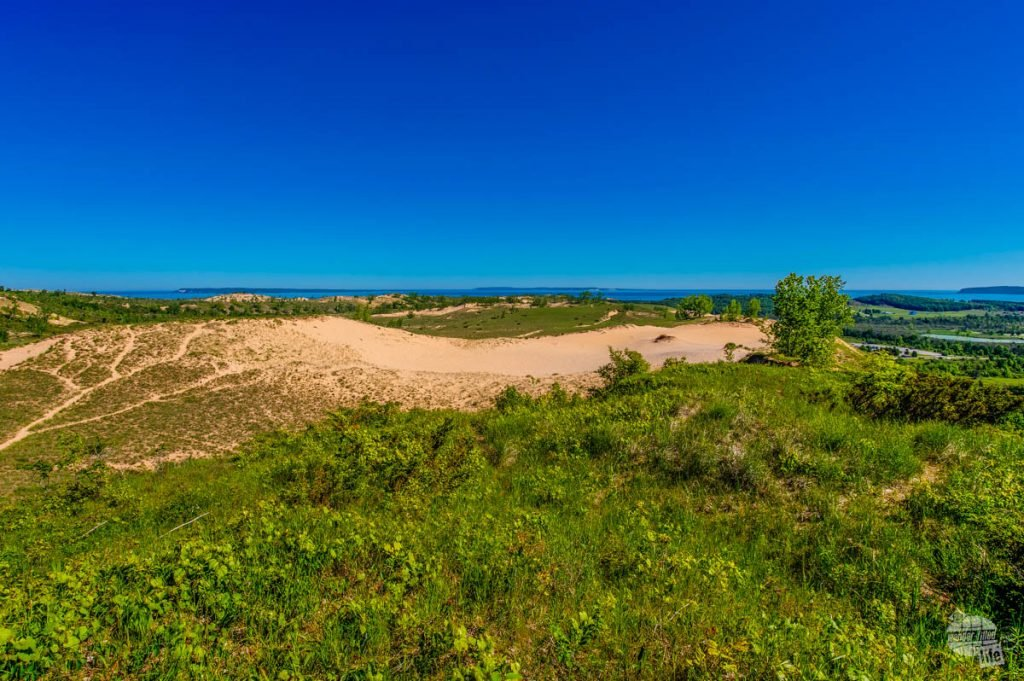 The view from the Dune Overlook of the Sleeping Bear Dunes complex.