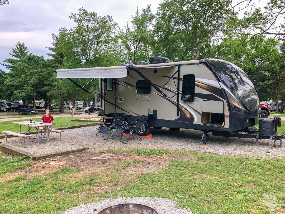 Our campsite at the Lebanon/Cincinnati KOA in Lebanon, OH