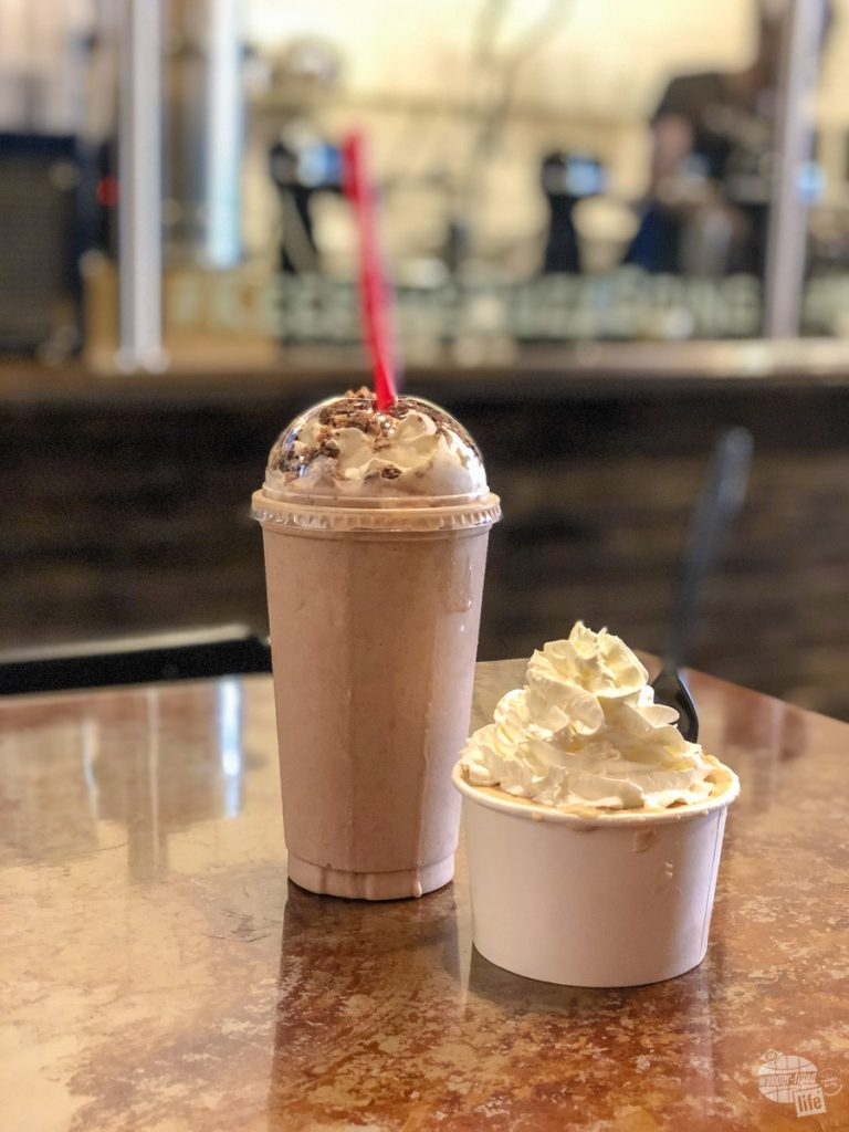 Bonnie got the Buzzed Bull ice cream mixture with bourbon in it and Grant got the Tiger Stripe milkshake with rum in it. SO GOOD!