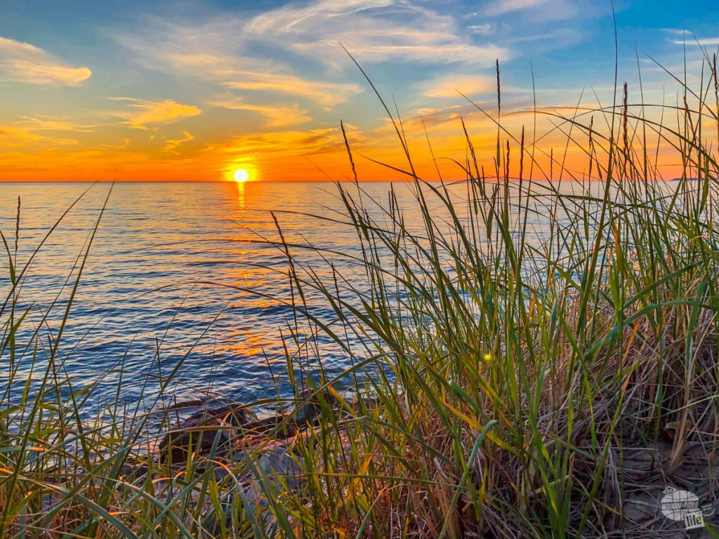 Sunset on Lake Michigan which demonstrates the concept of Rule of Thirds.
