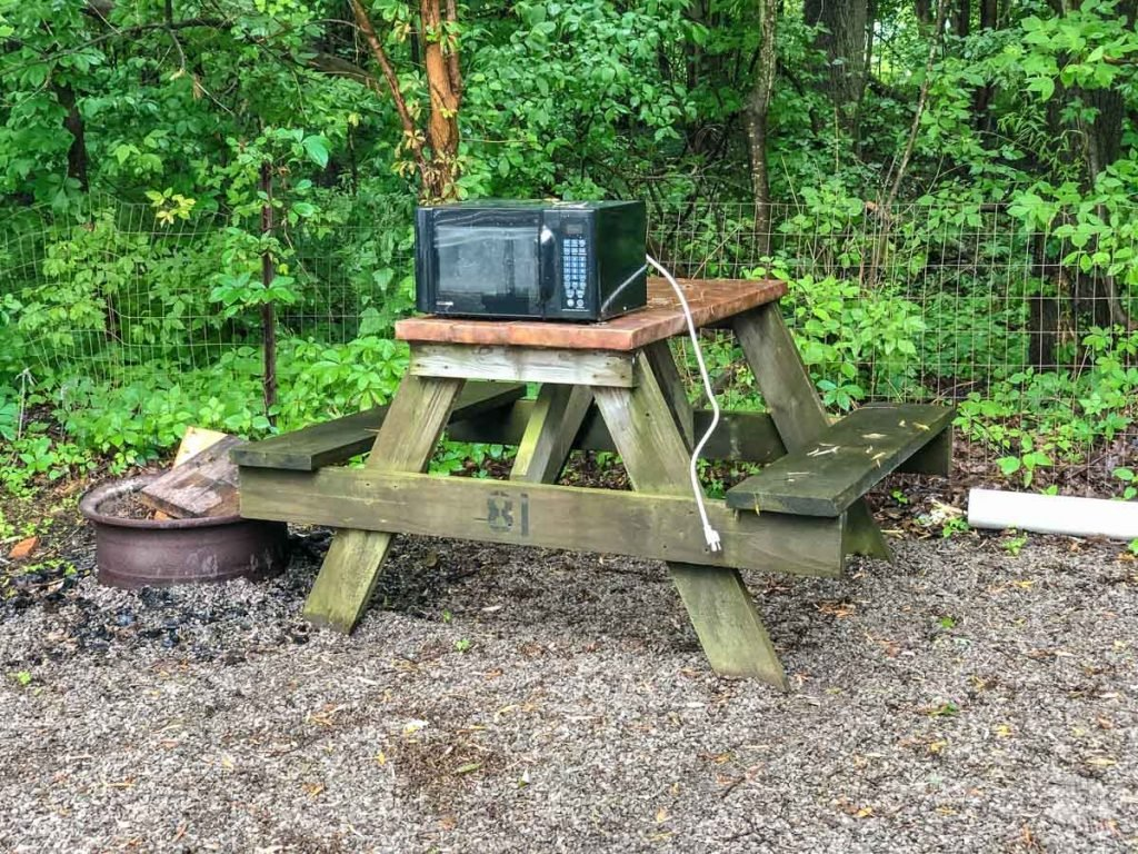 The microwave just left out at our site in Swanton. I wish we were kidding.