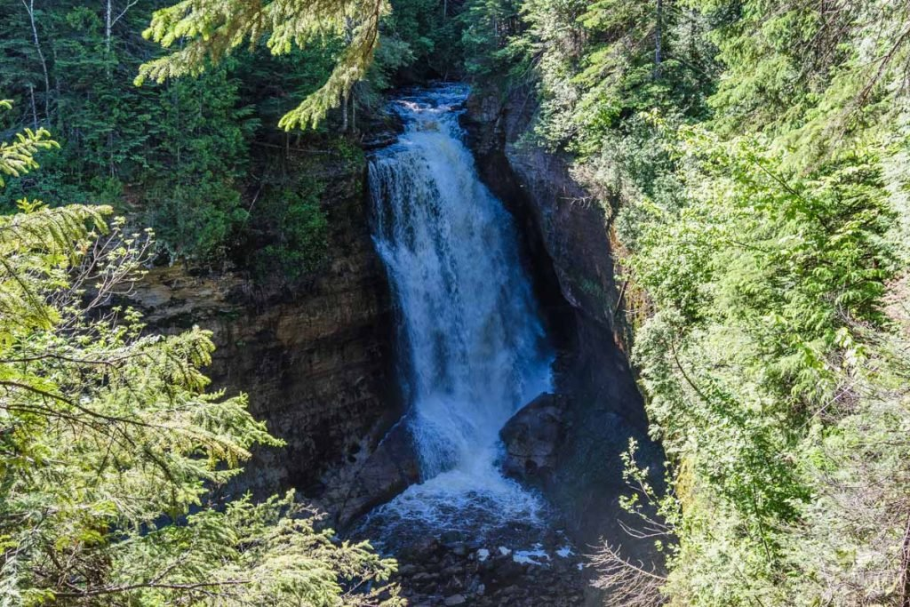 The flowing waters of Miners Falls.