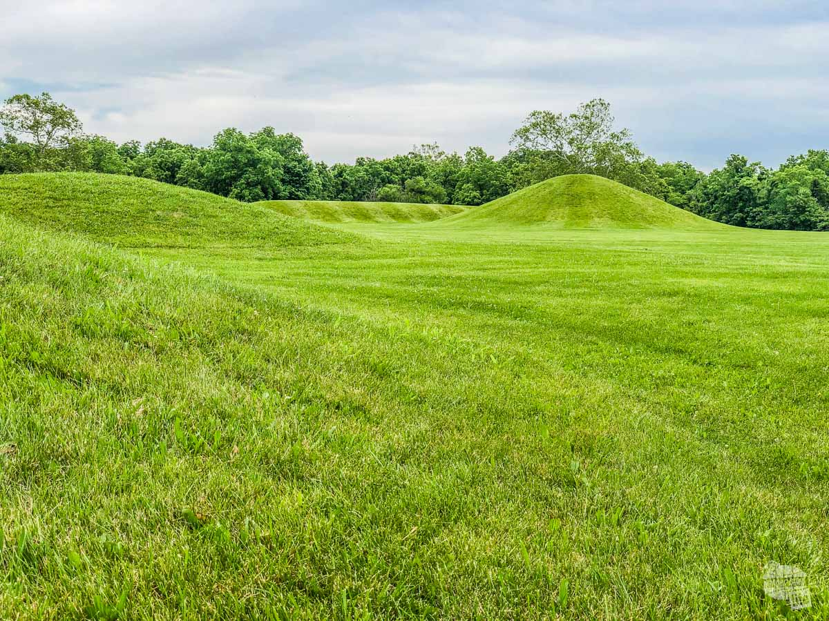 Earthen mounds at the Mound City complex of the Hopewell Culture National Historical Park