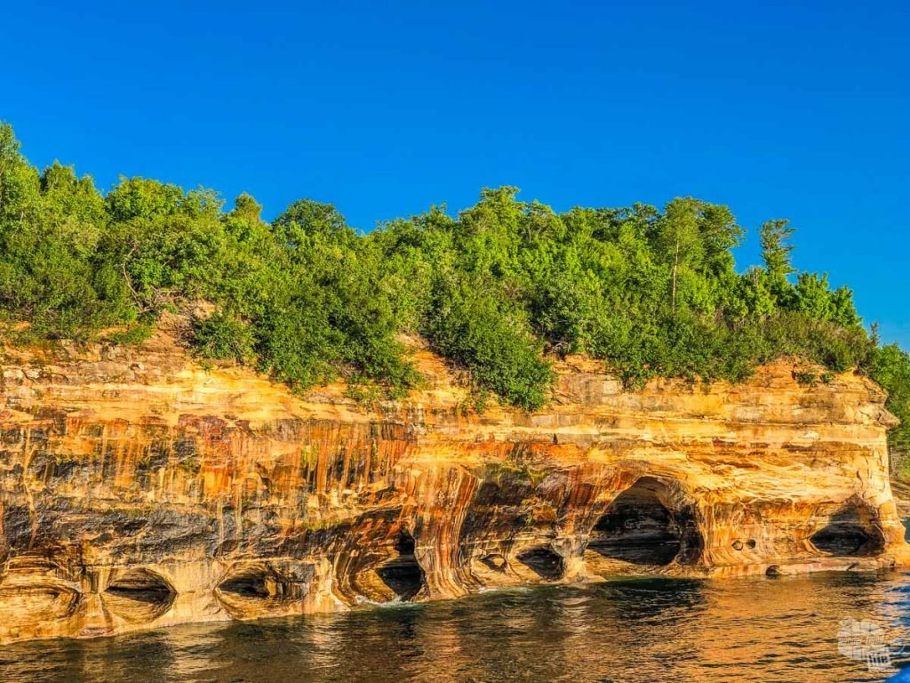 The namesake pictured rocks of Pictured Rocks National Lakeshore