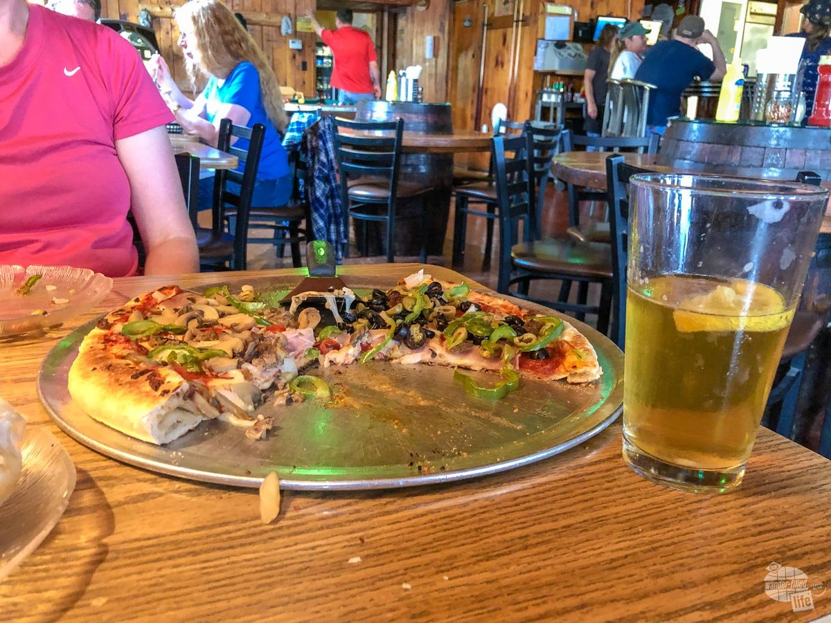 Pizza and beer at Lake Superior Brewing in Grand Marais, MI.