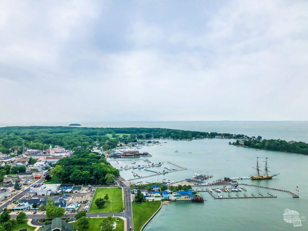 Put-In-Bay from atop the Perry's Victory memorial. The large, two-masted ship on the right is the USS Niagara.