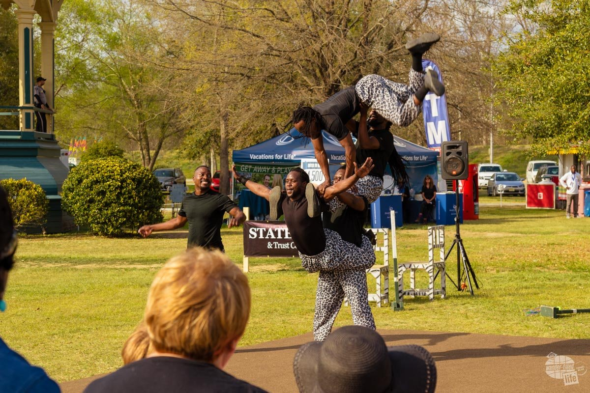 One of the many acts performing at the Cherry Blossom Festival was a troupe of African acrobats.