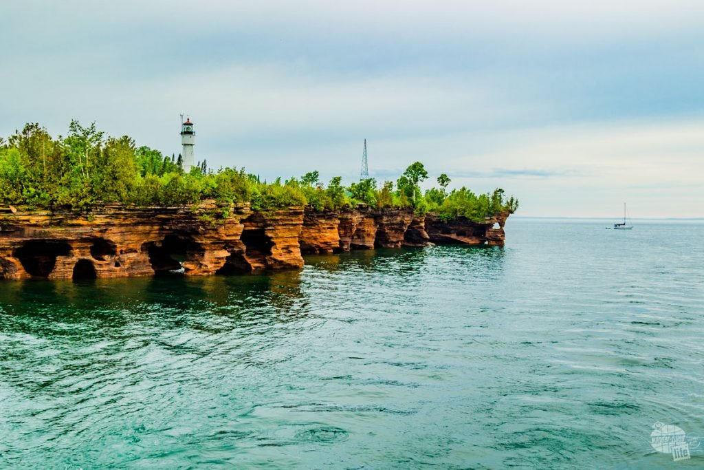 The rocky shores of Apostle Islands.