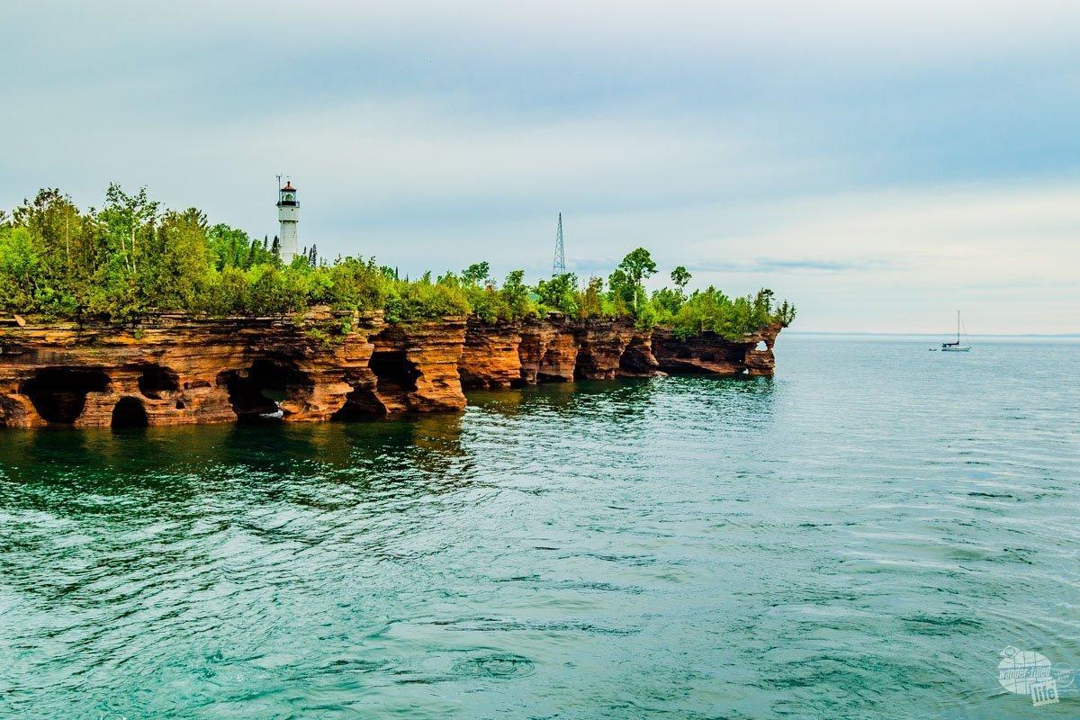 The rocky shores of Apostle Islands.