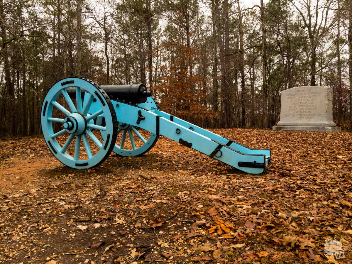 This is where Andrew Jackson places a pair of light artillery pieces to help break up the Creek fortifications. They were largely ineffective.