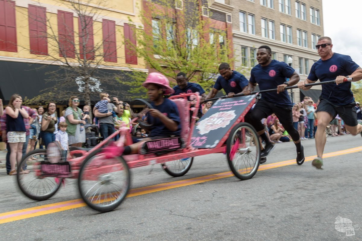 If you want to win a bed race, having four firefighters pushing is the way to make it happen.