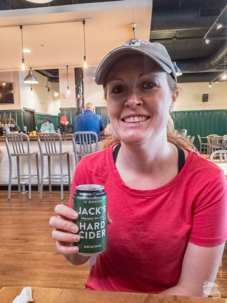 Bonnie enjoying a Jack's Hard Cider at the Piedmont Brewery and Kitchen