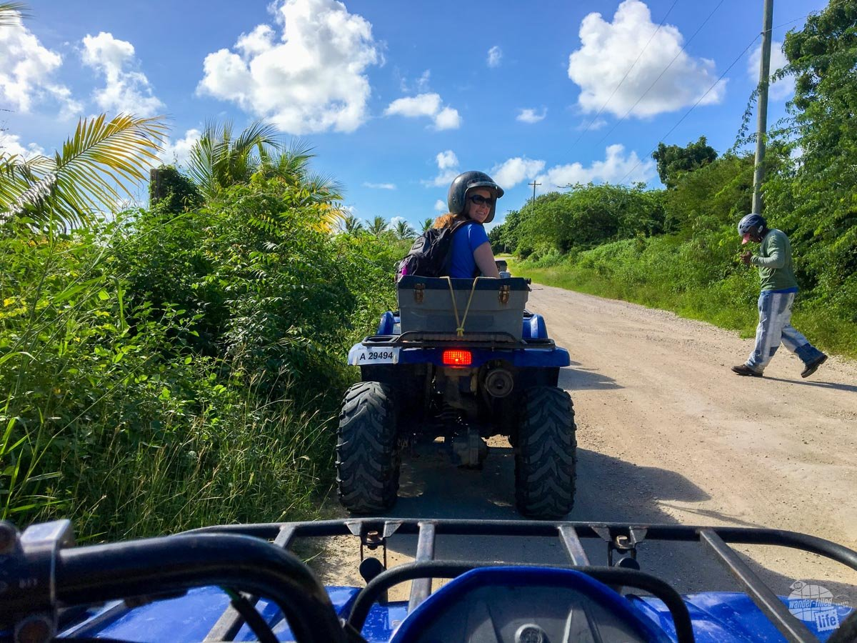 Bonnie on the road on the ATV