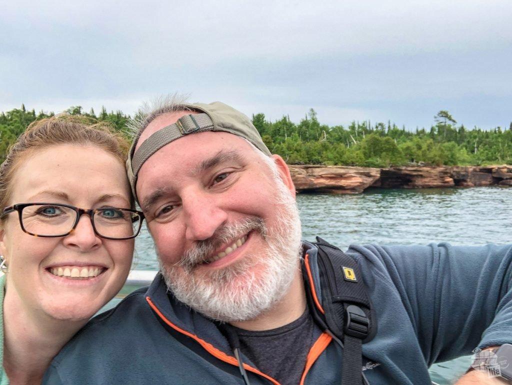 Bonnie & Grant enjoy the cruise past Devil's Island.