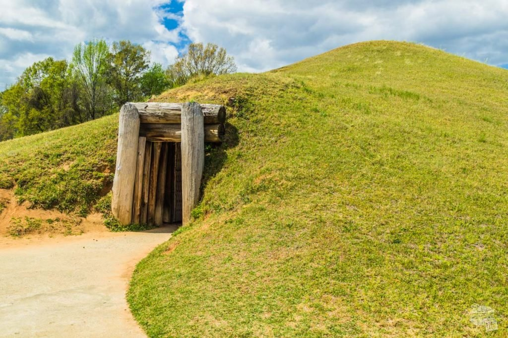 This mound at Ocmulgee National Monument was actually an earthen lodge, a place for the builders to meet  and hold ceremonies.