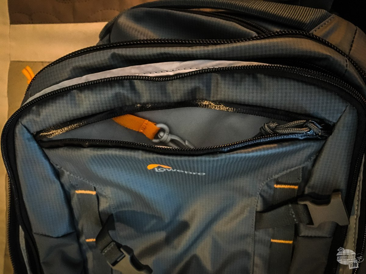 The Lowepro Highline BP 400 AW has several well=placed pockets, including this one for keys and loose change.