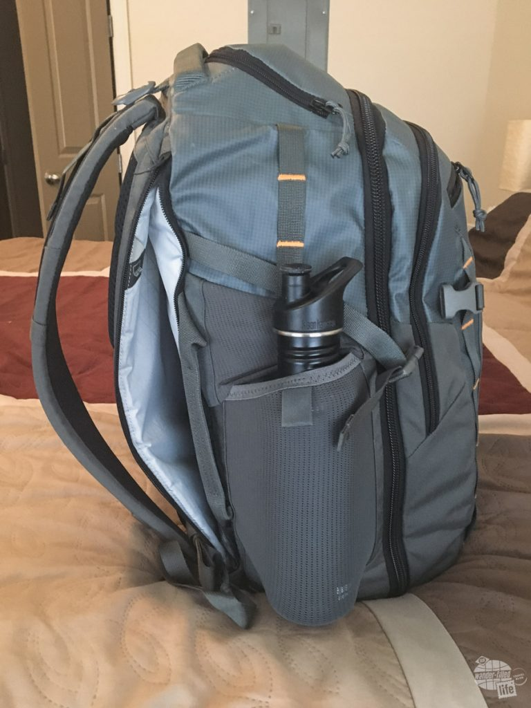 """The laptop sleeve easily handled our 13"""" MacBook Pro and the mesh pockets on the side are perfect for my Kleen Kanteen."""