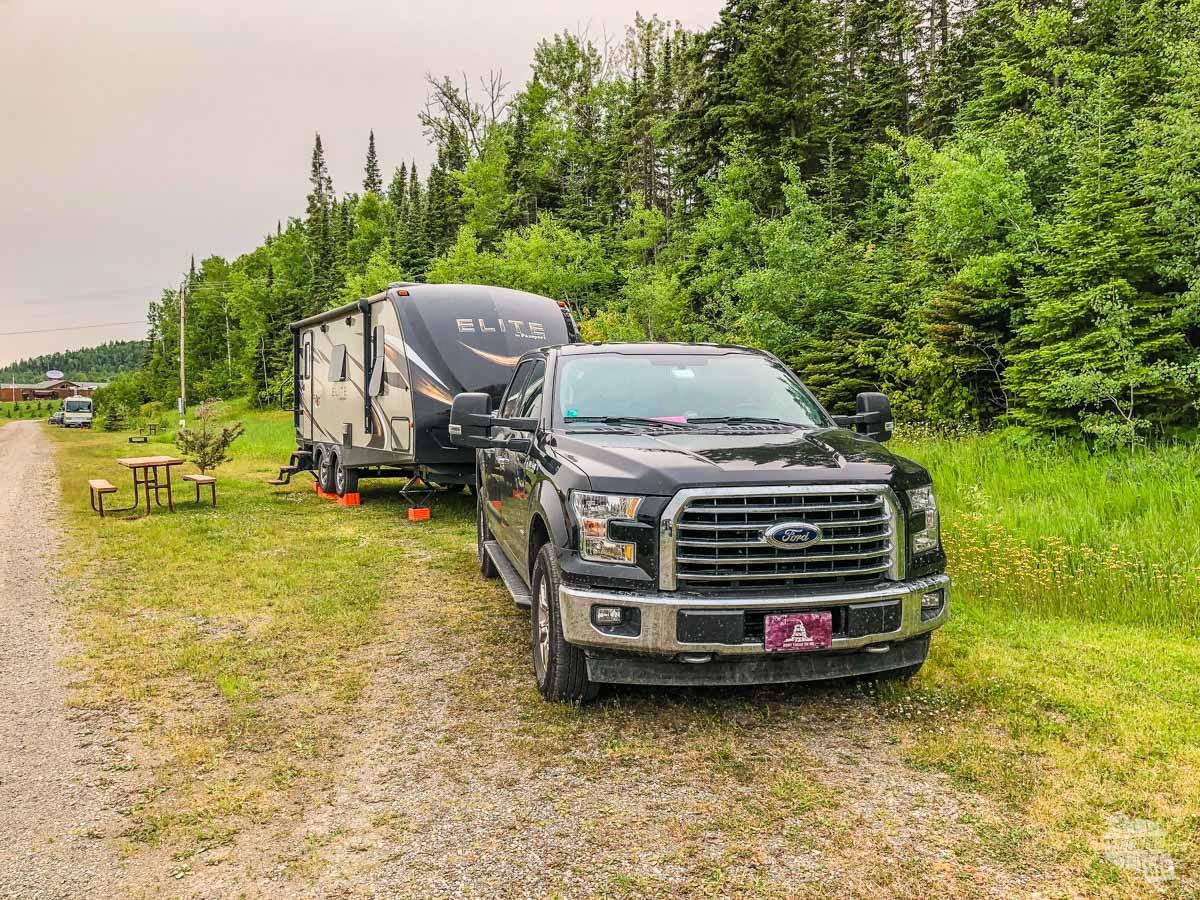 Our campsite at the Grand Portage Casino RV Park.