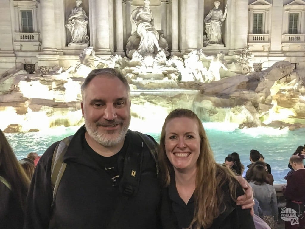 Grant and Bonnie at the Trevi Fountain. We definitely made a point to purchase the optional travel insurance before heading off on our Italian field trip!