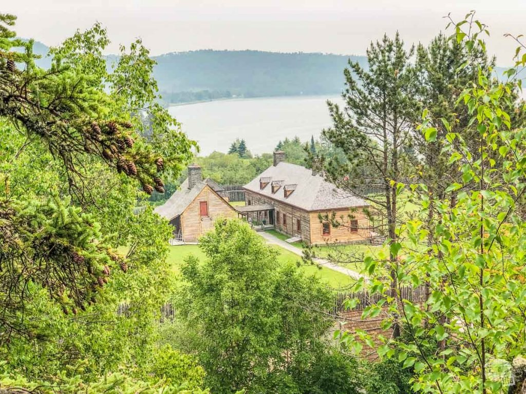 Overlooking the Great Hall and kitchen at Grand Portage National Monument.