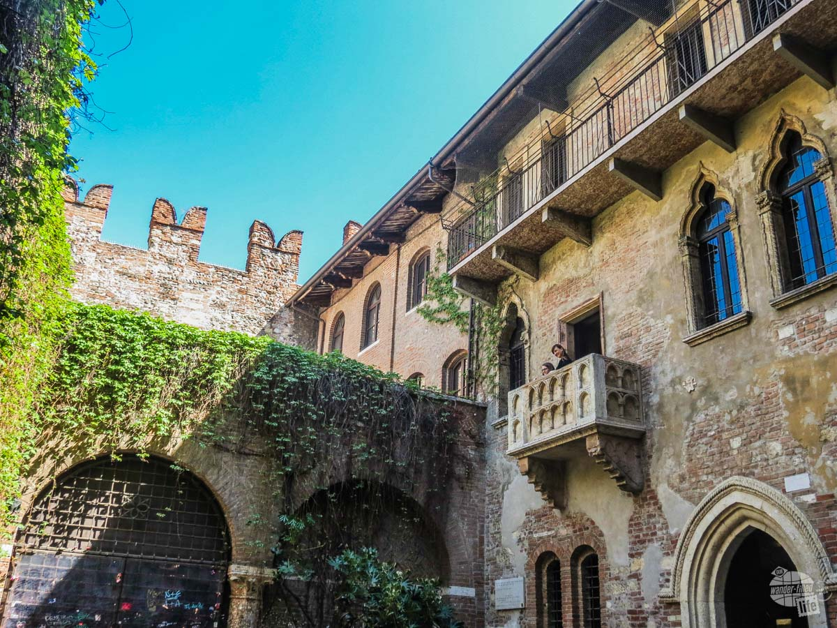 """Hark, what light from yonder breaks?"" The ""Juliet Balcony"" is an attraction in Verona which highlights the events of Shakespeare's ""Rome and Juliet."" Since the events of the play are completely fictional, this is not where Juliet actually stood."