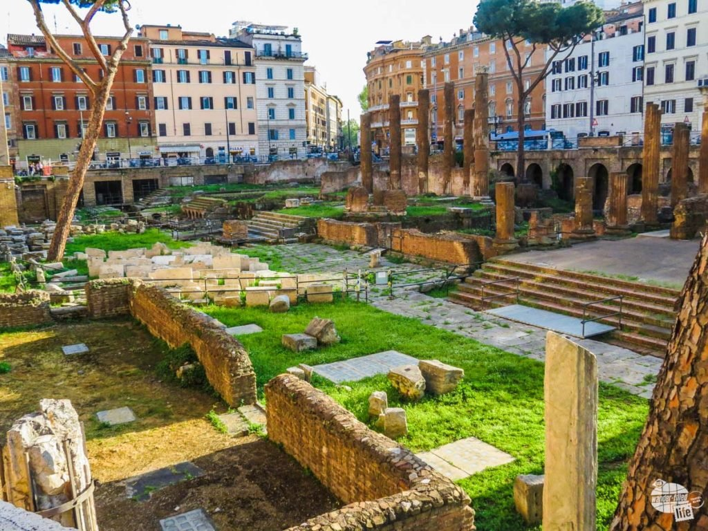 The ruins at the Lago di Torre Argentina was the site of Julius Caesar's assassination.