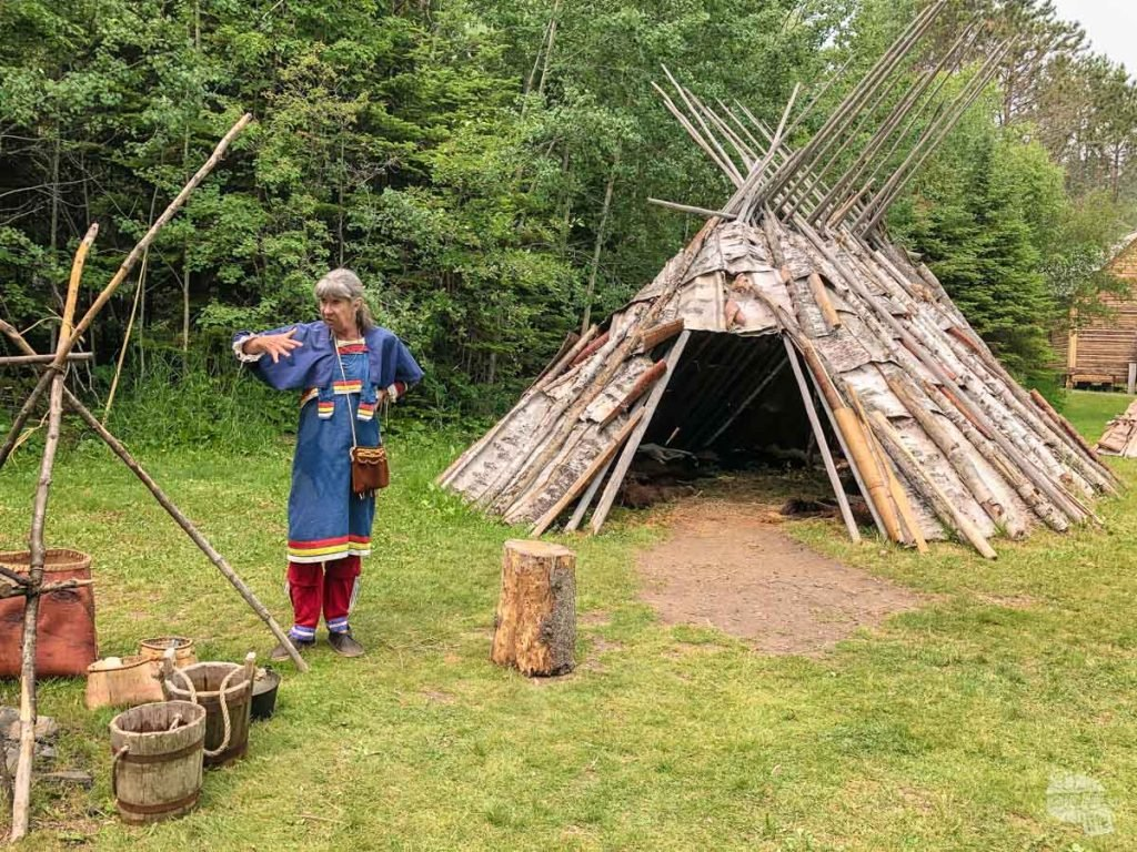 A living historian goes over how the Ojibwe people used birch bark to make lodges. The entire monument is located on the Grand Portage Band of the Ojibewe's reservation.