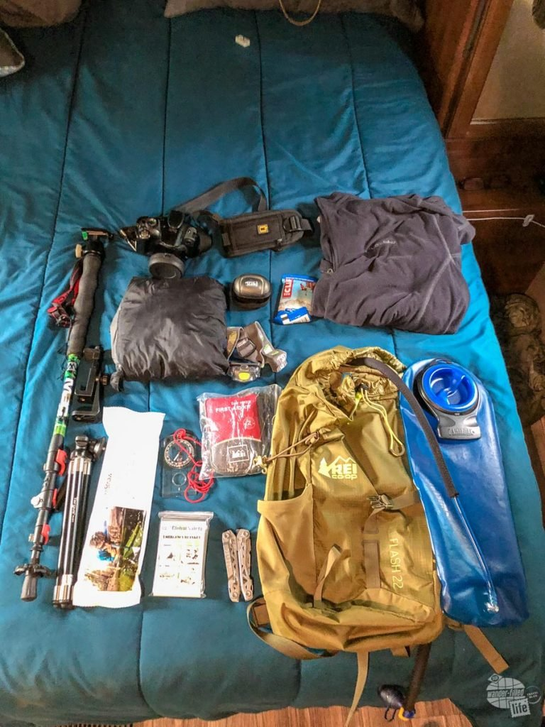 Getting all of the gear ready for hiking on Isle Royale.