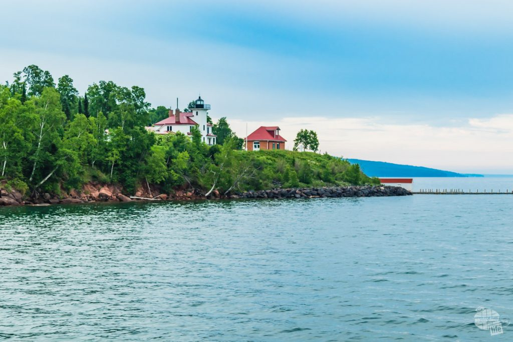 Sailing past Raspberry Island in the Apostle Islands.