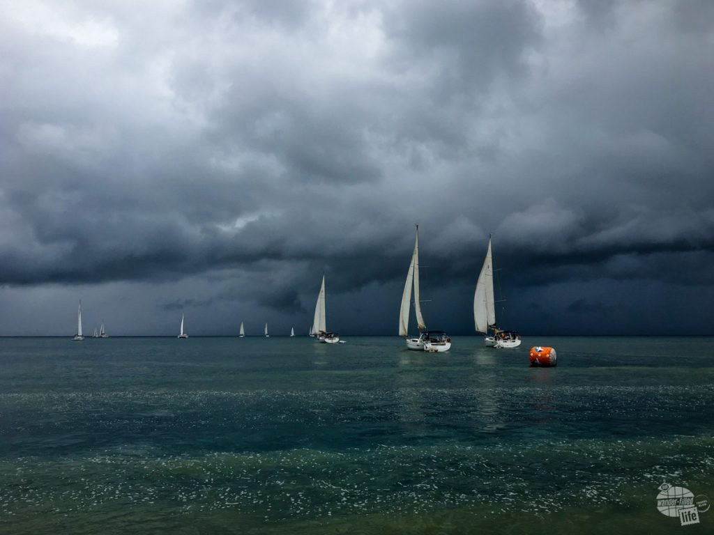 One of the cool things we got to see on the cruise to the Pitons was a sailing regatta underway. It also gives you an idea of the incoming weather returning to the ship.