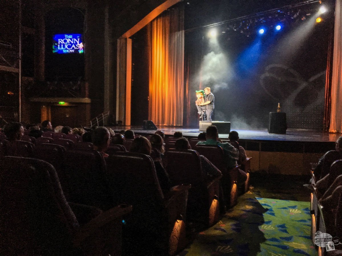One of the cool  parts of a cruise is the opportunity to see great entertainment, like famous ventriloquist Ronn Lucas.