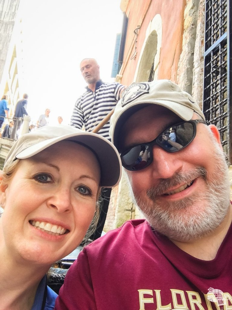 Bonnie and I enjoying our gondola ride. The gondola was an optional activity that our tour director arranged once we arrived in Venice.