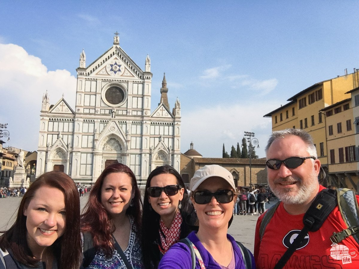 Anna, Jamie, Kellie, Bonnie and Grant in front of the Santa Croce Church.