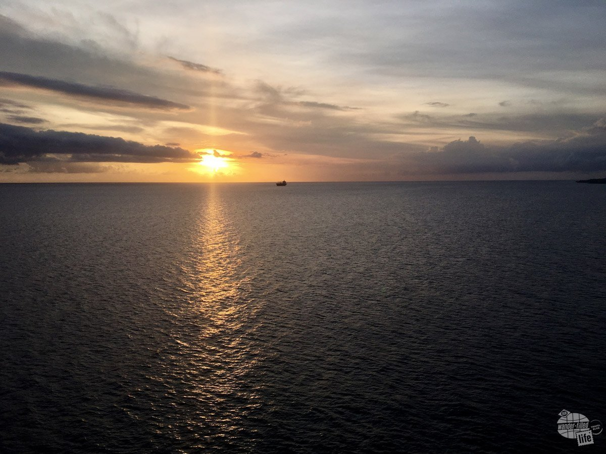 Sunset from aboard the Adventure of the Seas just as we departed Saint Kitts.