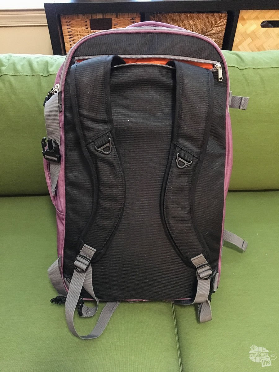 The backpack straps tuck away nicely if you don't need them. This would be especially useful if you need to check the bag when flying.