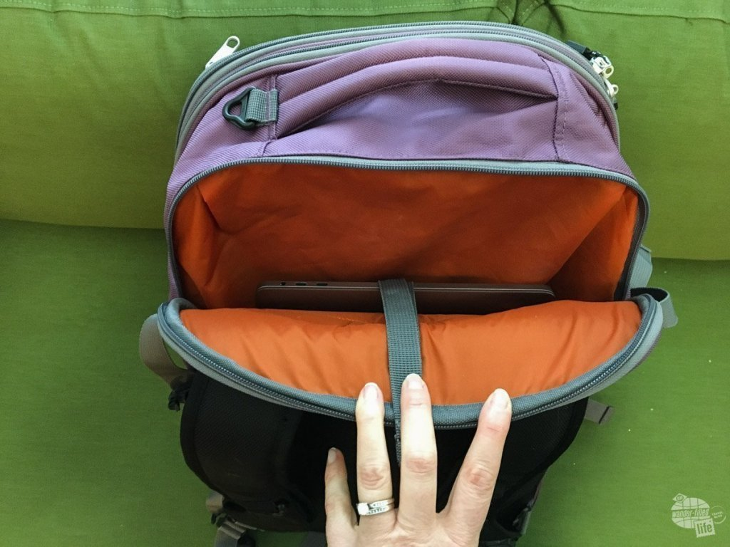 The laptop compartment has a unique laptop sling that allows you to position the laptop at a spot that is comfortable for you. It also provides an extra layer of security for the laptop.