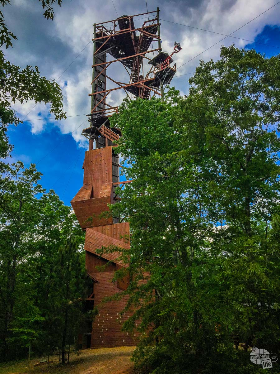 At 151 feet, the Adventure Tower features an extensive climbing wall and zip lines.
