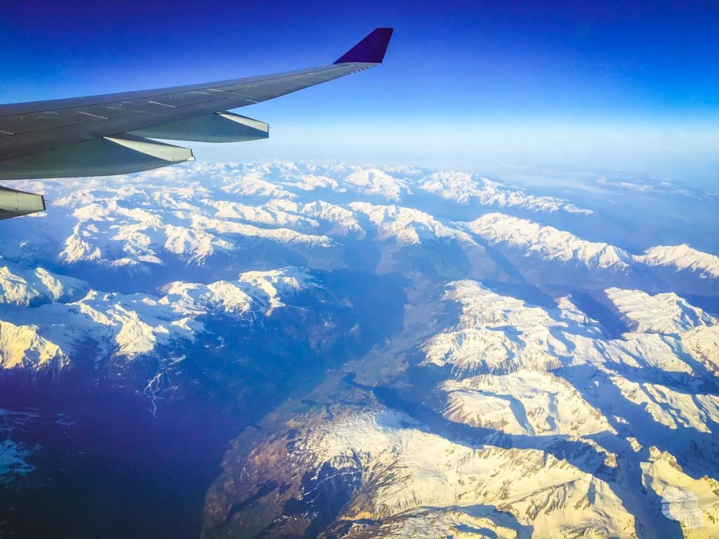 Looking out the window of the plane afforded a great view of the Alps.