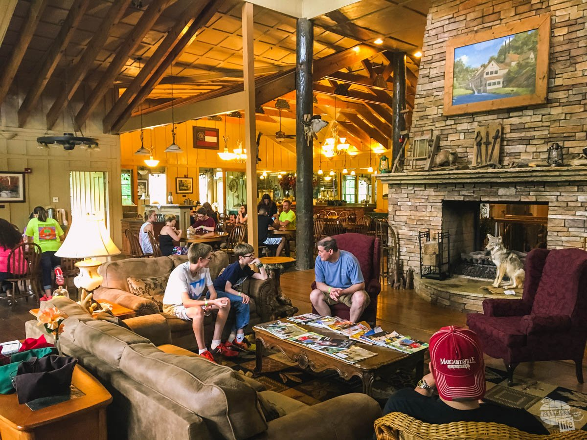 The interior of the main lodge and dining area