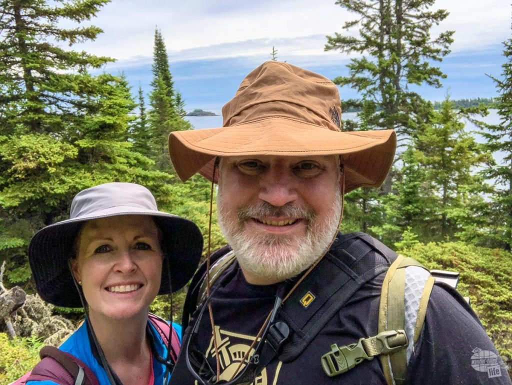 Grant and Bonnie hiking on Isle Royale National Park.
