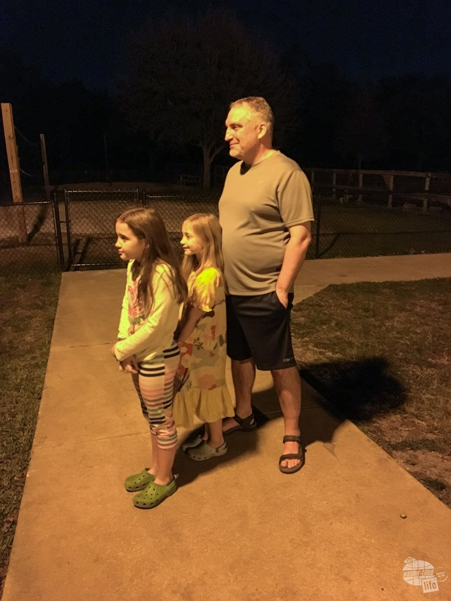 Taking a moment before bed to let the girls watch the fireworks from the Magic Kingdom at the Fort Wilderness Campground.