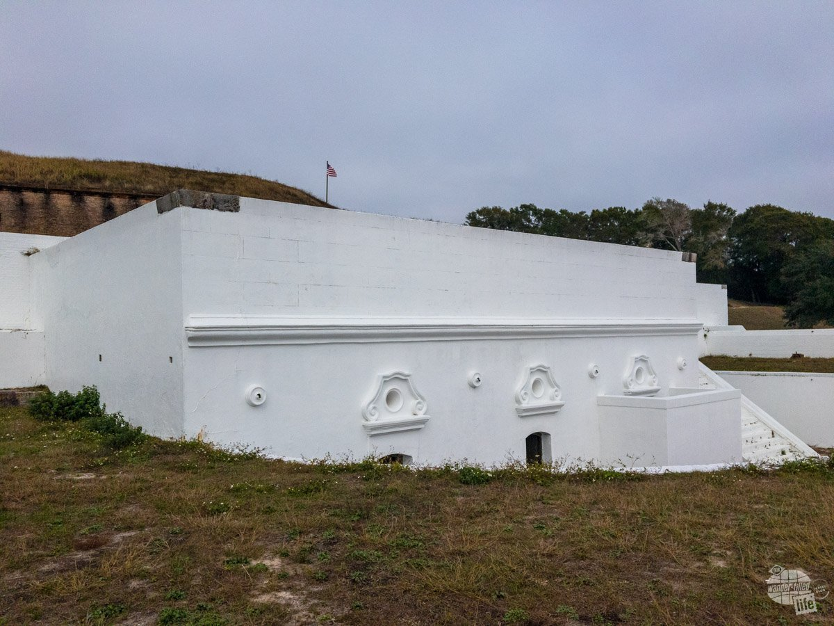 The fortifications at Fort Barancas date back to colonial Spain. The whitewashed brick is the old Spanish Water Fort and was designed to have artillery right at the waterline to destroy ships threatening Pensacola Bay.