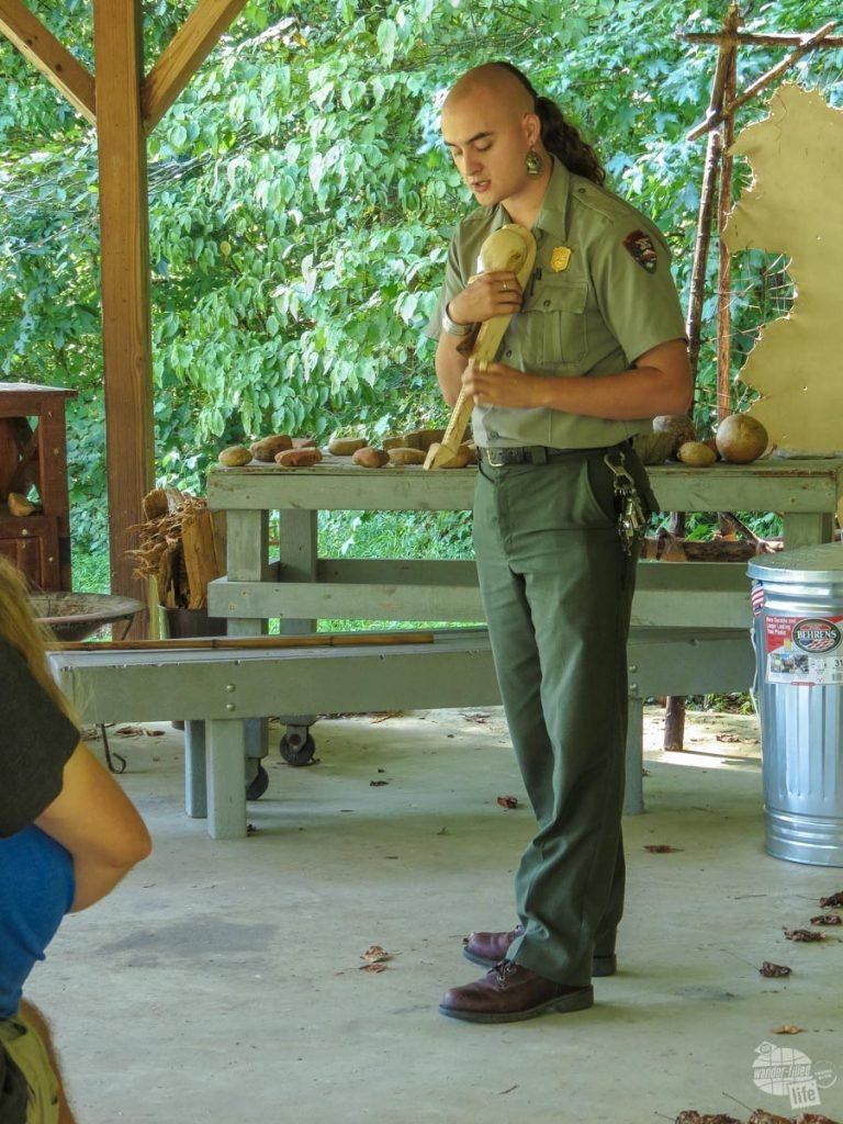 This park ranger gave a weapons demonstration, including a wooden war club he created himself.