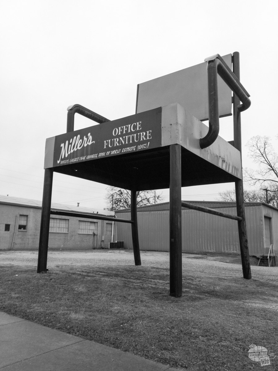The World's Largest Office Chair in Anniston. Standing 33 feet tall, it's an advertisement for Miller's Office Supply and you can still order the original chair it is modeled upon.