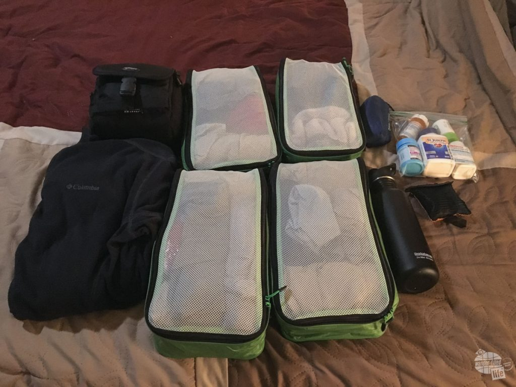 Once everything was placed in it's compartments, all I was left with was my clothes, camera, medicine, water bottle, travel pillow and small towel. the eBags packing cubes made quick work of packing my clothes.