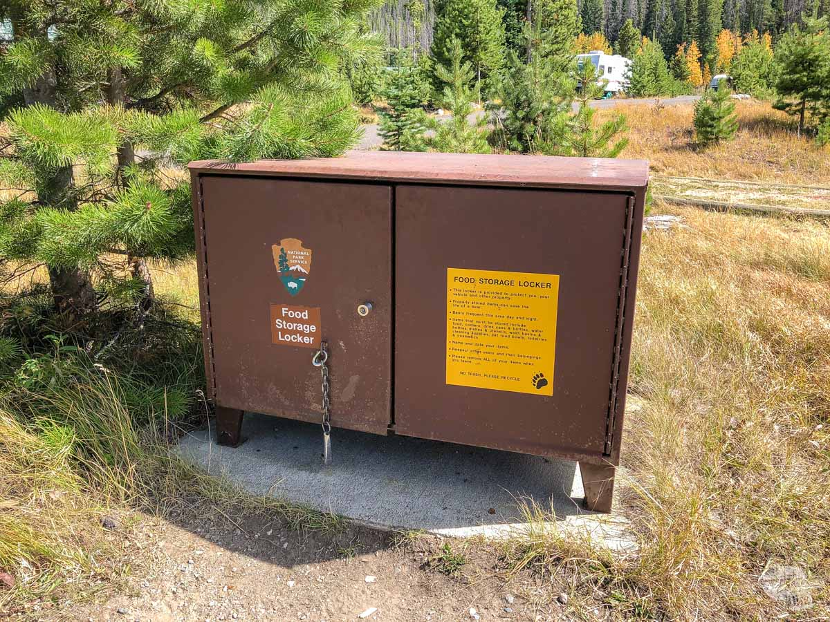A bear box at Timber Creek Campground in Rocky Mountain National Park.