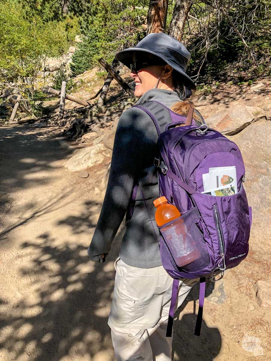 Bonnie hiking with her new daypack, an Osprey Daylite Plus.
